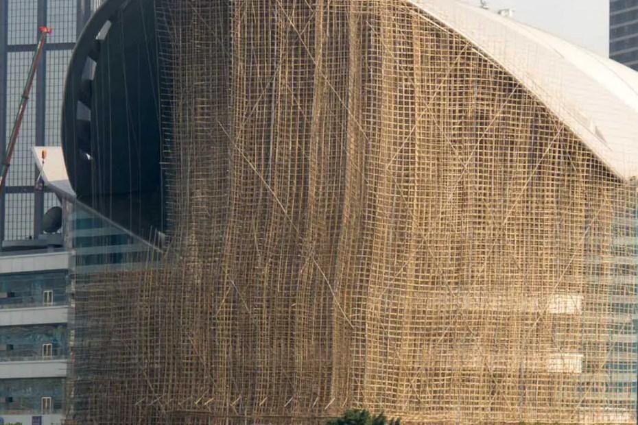 Andamiajes de bambú en Hong Kong.