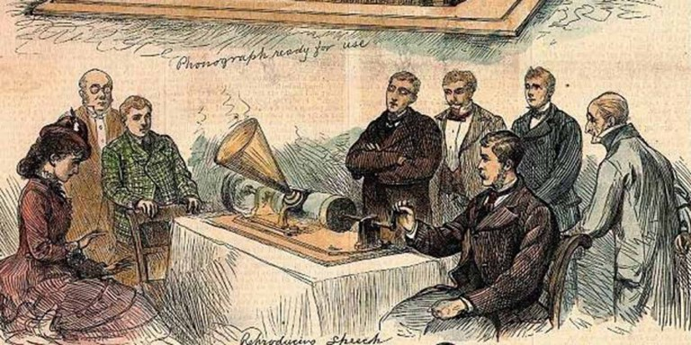 Grabado de la demostración de un fonograma.