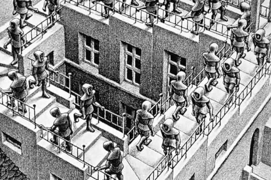 Escalera infinita de Escher. En esta obra fue basado el vídeo Halucii.