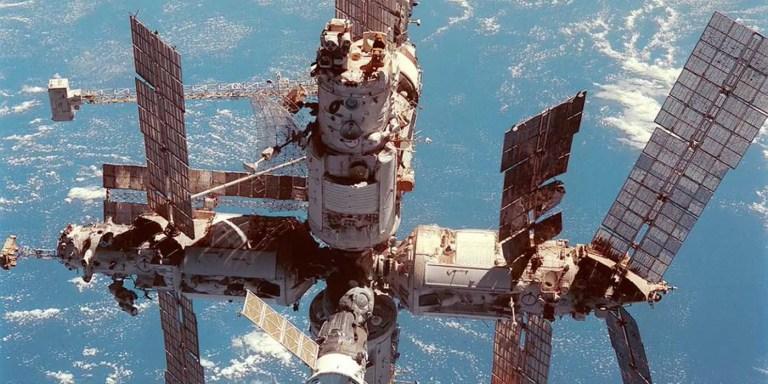 Detalle de la Estación espacial MIR. La estación espacial de la Unión Soviética famosa por haber tenido un sauna: el sauna estación MIR.