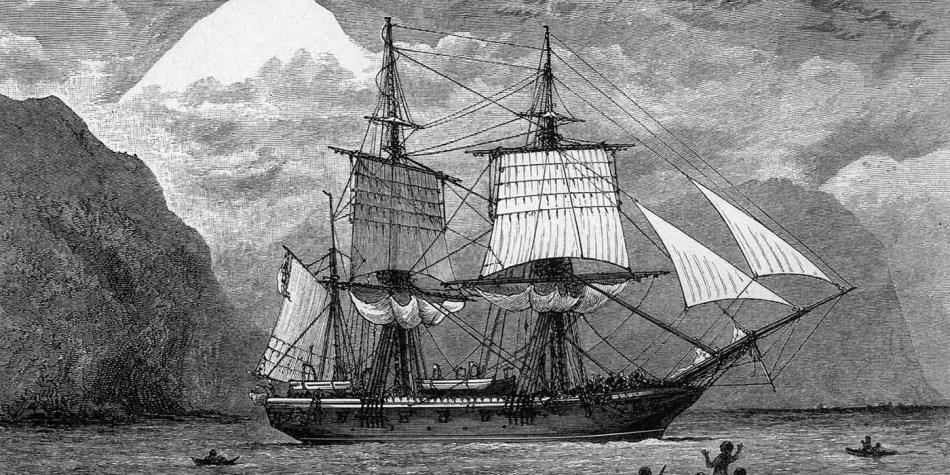 El HMS Beagle cruzando el Estrecho de Magallanes en el siglo XIX.