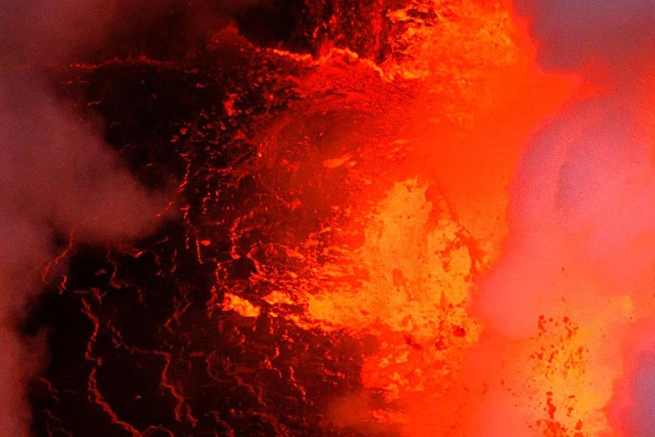 Interior de un volcán.