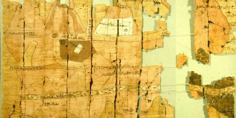Fragmento del mapa más antiguo que se conserva, el mapa de Ramsés IV.
