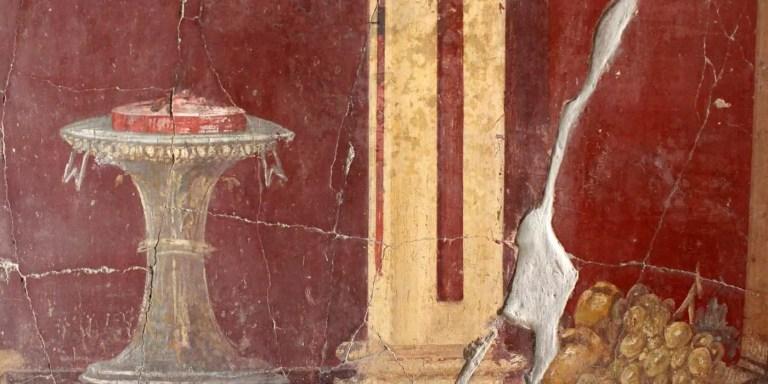 Detalle de uno de los Frescos de la villa de Oplontis ¿Plástico romano?.