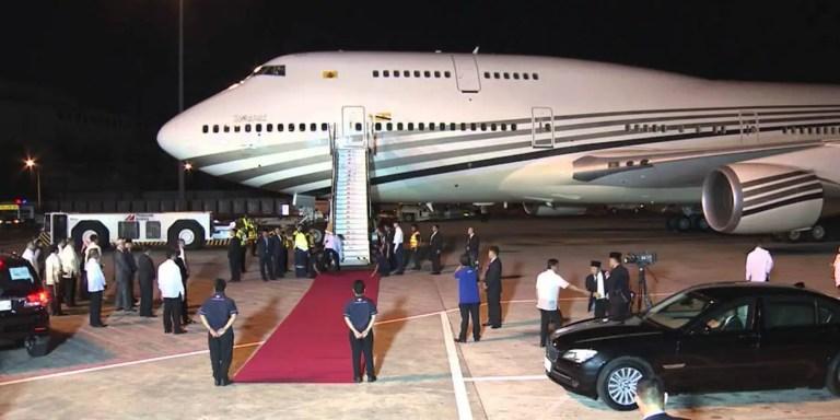 El jet privado del sultán de Brunei, uno de los aviones más lujosos del mundo.