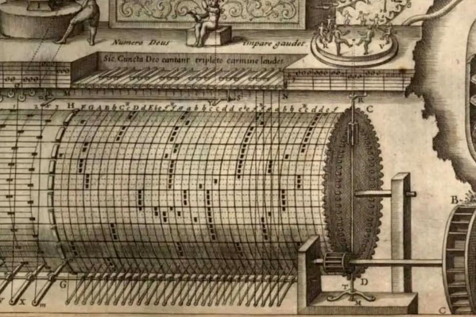Fragmento del órgano hidráulico ideado por Athanasius Kircher para su obra Musurgia Universalis.