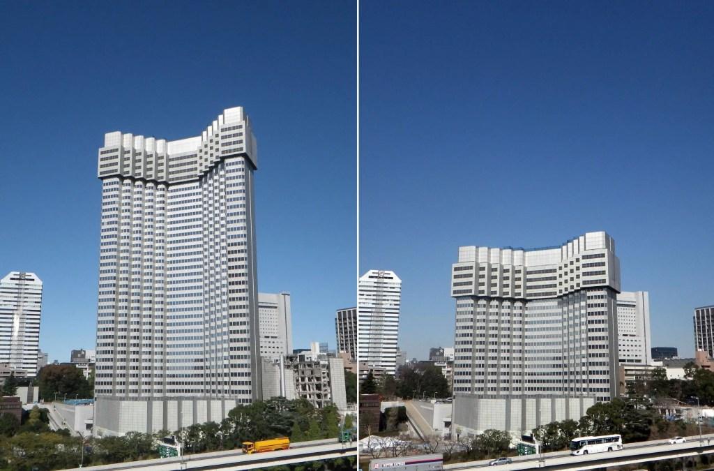 El Akasaka Prince Hotel siendo demolido por el método TECOREP.