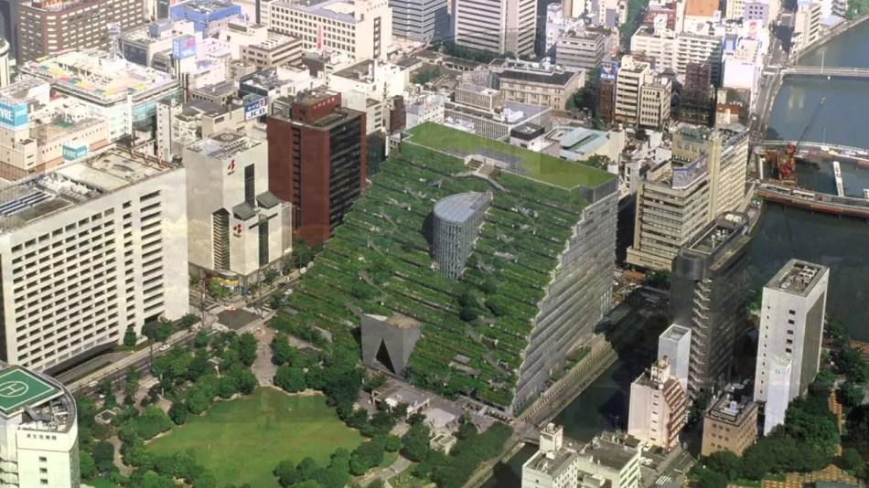 Vista aérea del museo y teatrp de Fukuoka.