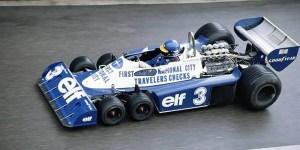 Vista lateral de un Tyrrell P34, el coche de Fórmula 1 con seis ruedas.