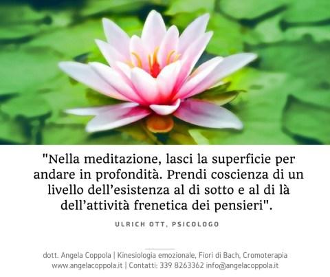 Nella meditazione, lasci la superficie per andare in profondità. Prendi coscienza di un livello dell'esistenza al di sotto e al di là dell'attività frenetica dei pensieri.