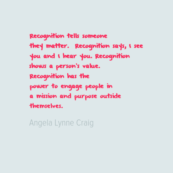 Do you feel you get enough recognition?