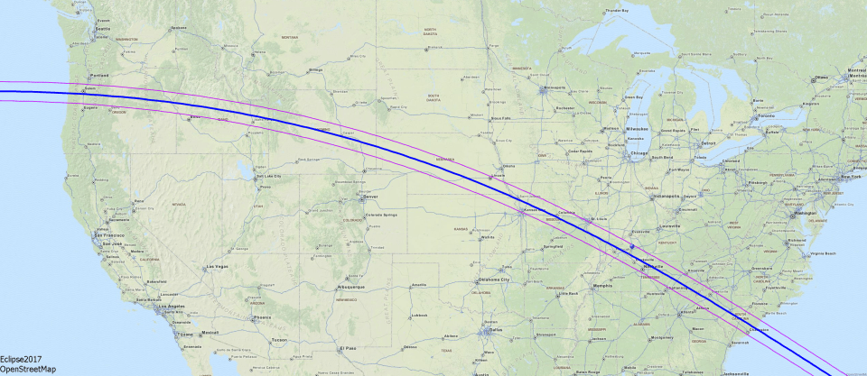 Map of the solar Eclipse path