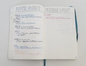 Bullet Journal Collections for Writers: A Critique Group Collection from my 2018 Bujo