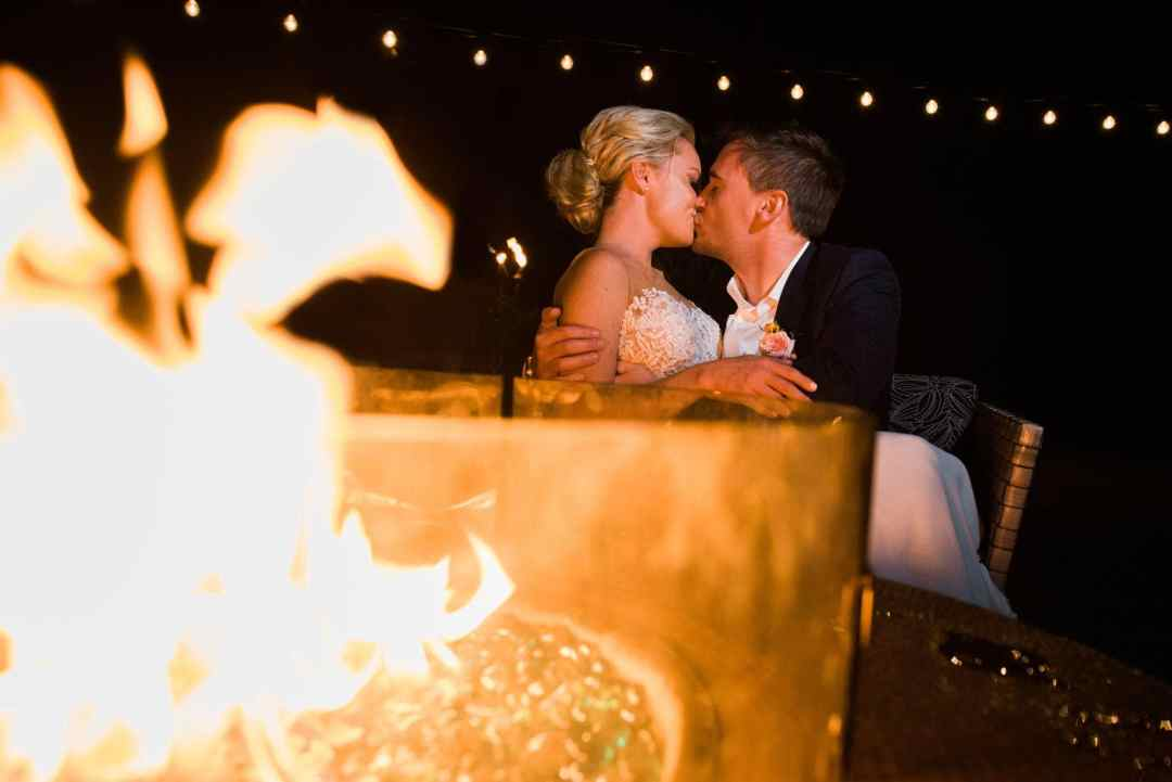 maui wedding with campfire