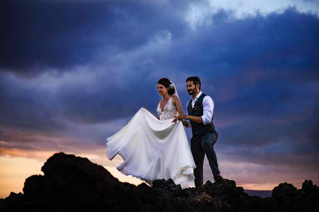 bride and groom portraits at kukahiko estate