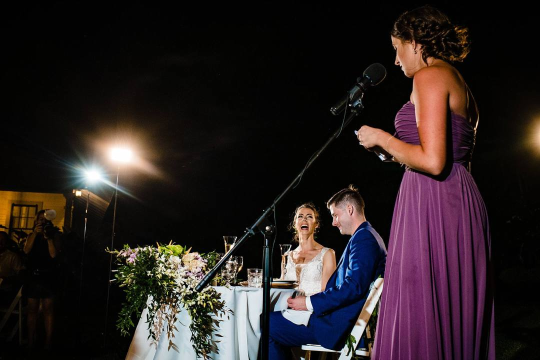 bride's reaction during speeches