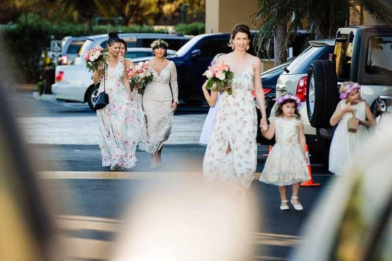 bride walking at five palms maui