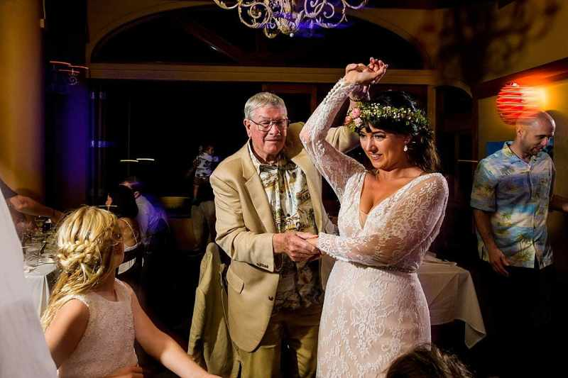 bride dancing with grandfather at five palms maui restaurant