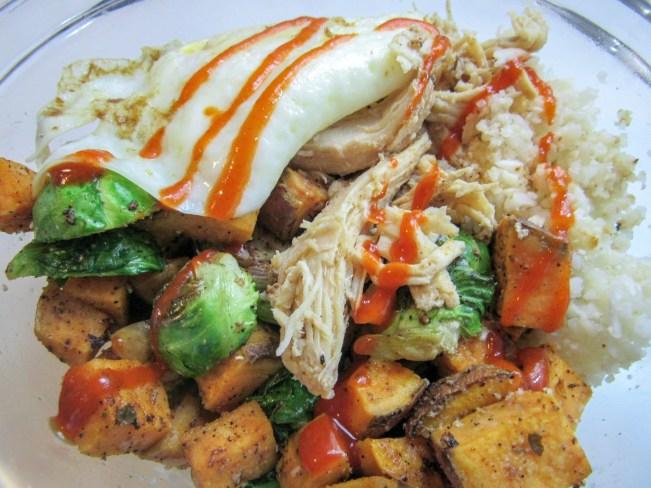 Easy Chicken Sweet Potato Bowl + Sauteed Kale