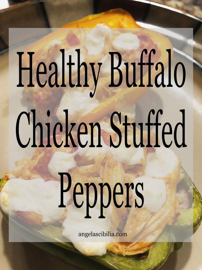 healthy buffalo chicken stuffed peppers
