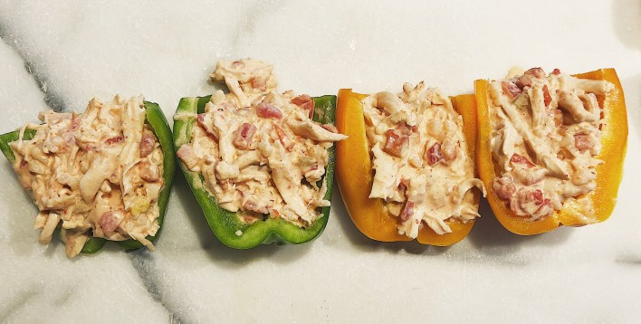 how to make buffalo chicken stuffed peppers