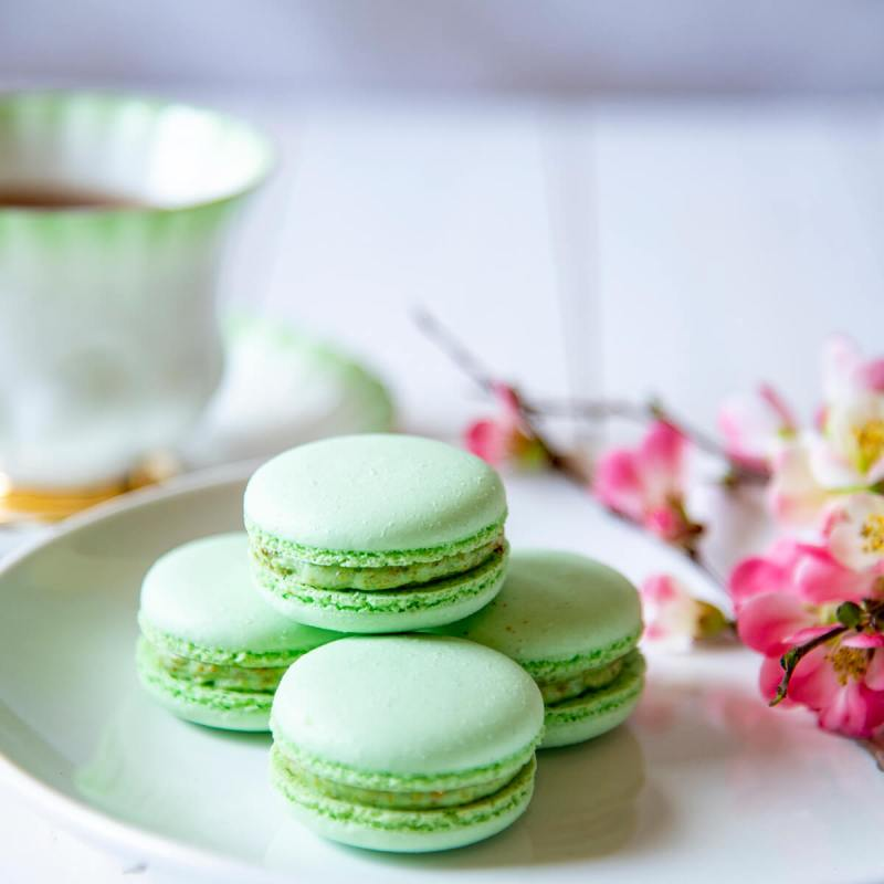 Spring Macarons made with the Angel Bake Single Step French Macaron Mix.