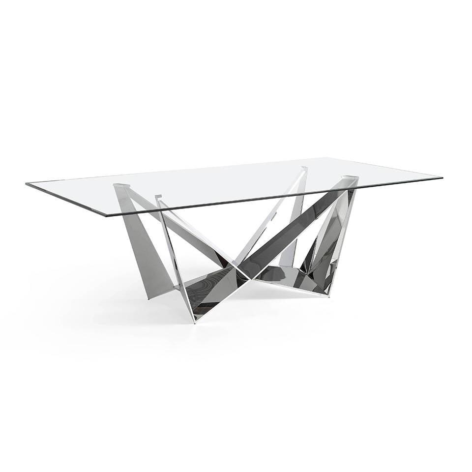 Mesa de comedor de acero inoxidable con tapa de cristal