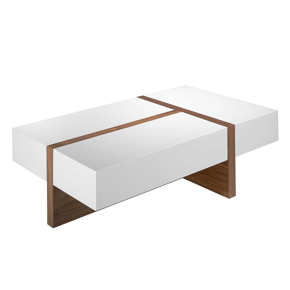 mesa de centro en madera en nogal con