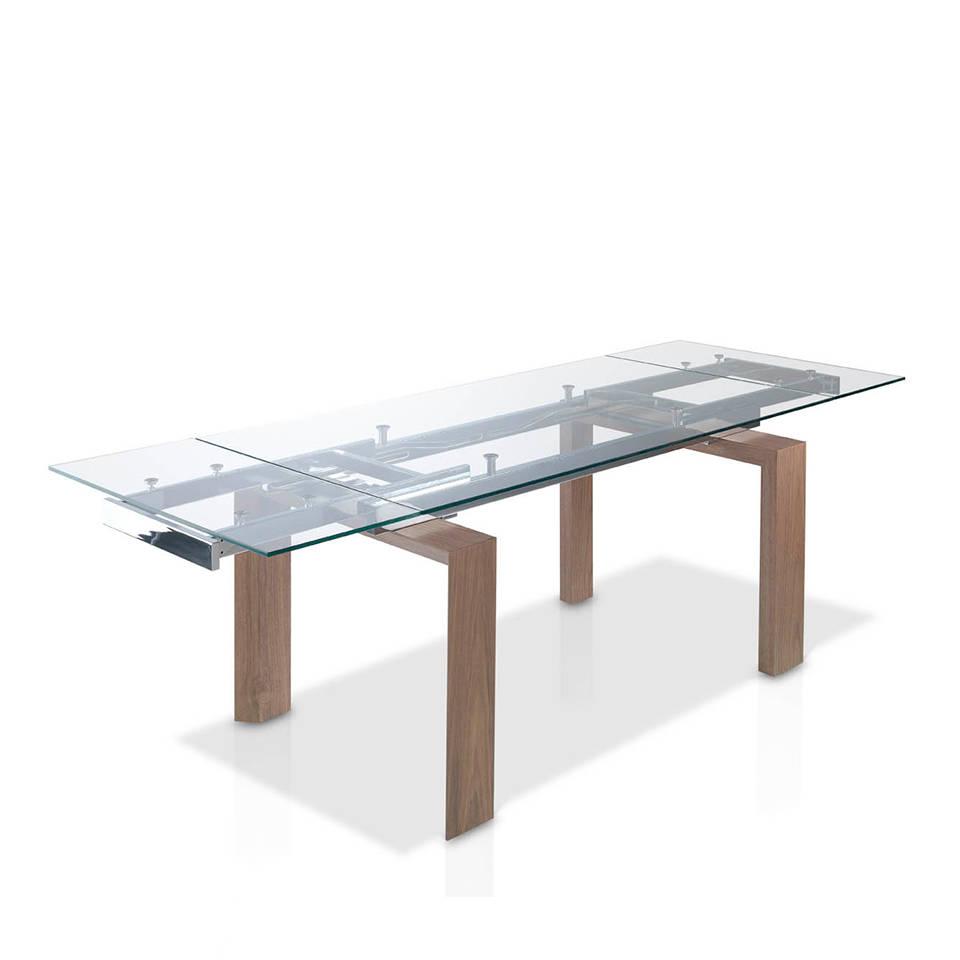 es mesa de comedor extensible con tapa de cristal templado y patas chapadas en nogal en extendible dining table with tempered glass top and walnut