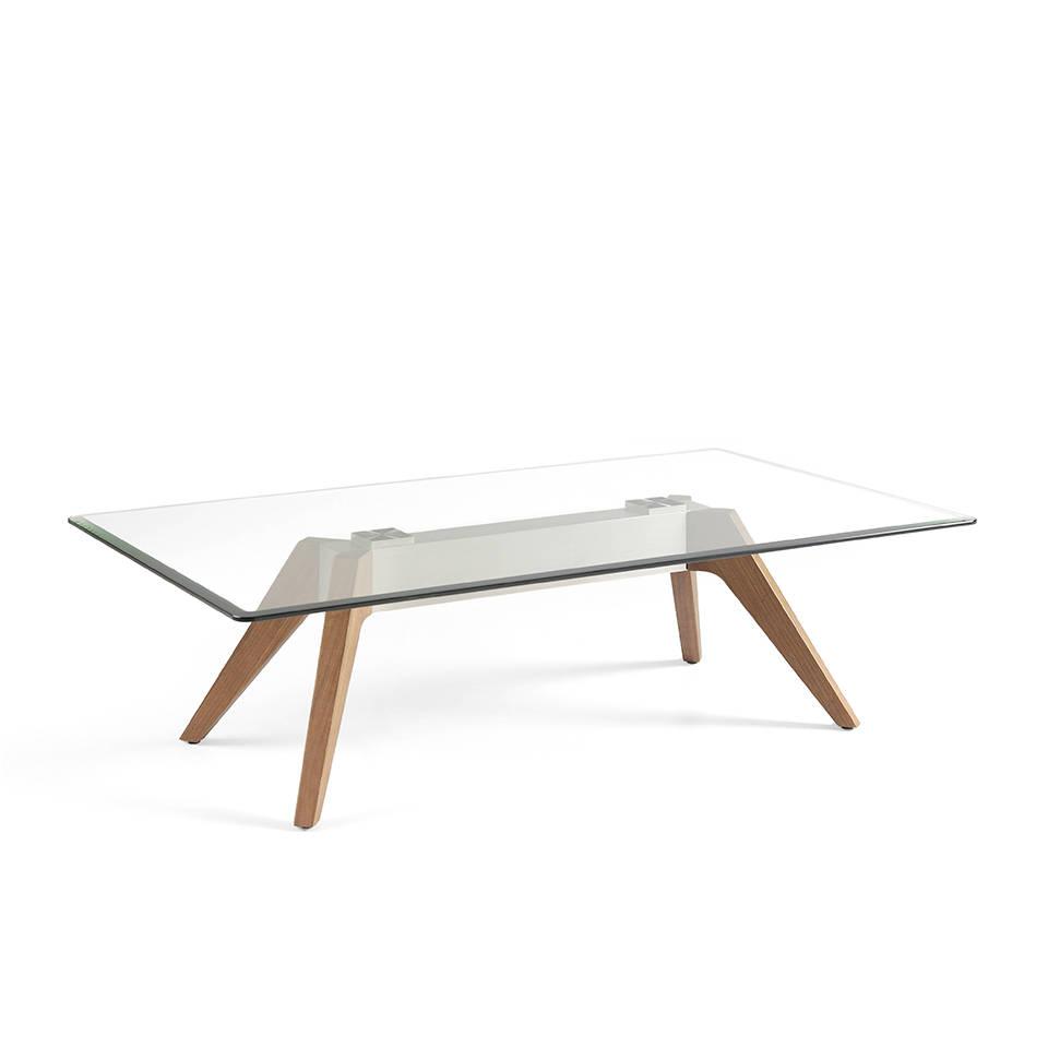 es mesa de centro con tapa cristal templado base de acero inoxidable y patas de nogal en coffee table with tempered glass tabletop stainless