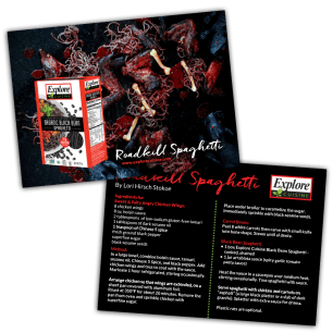Explore Cuisine Roadkill Recipe Card Created using Photoshop and InDesign.