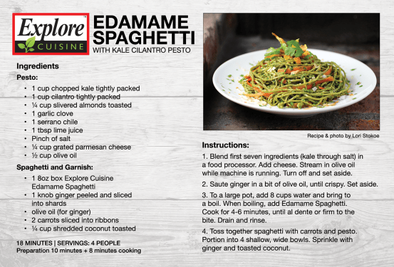Explore Cuisine Edamame Spaghetti Recipe Card 4×6 printed recipe card. Laid out in Adobe InDesign