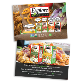Double sided card given out to customers as advertisement for Explore Cuisine.