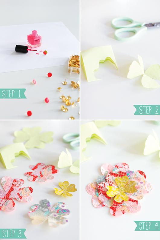 Instrucciones flor de papel