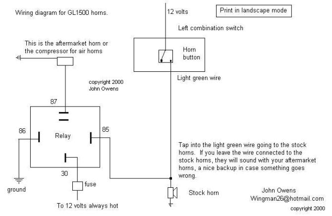 gl1500  gl1800 horns wiring diagram