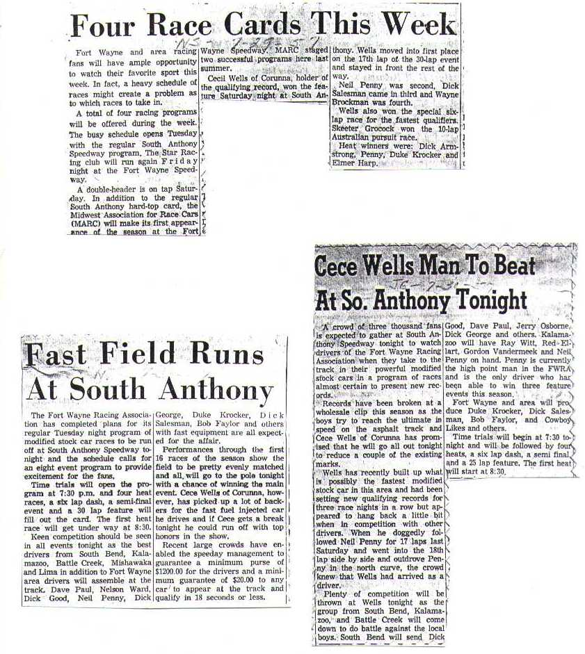 SOUTH ANTHONY SPEEDWAY 1957