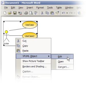 OLE Support in Visual Paradigm for UML