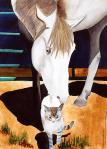Horse and Cat Pet Portrait by Katherine McDermott