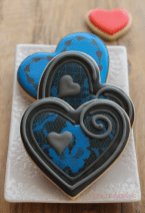 Blue Valentine's Day Heart Cookies