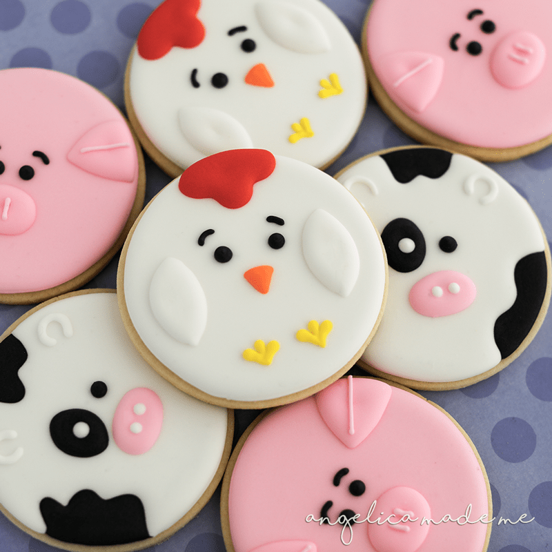 Farm Animal Face Cookies