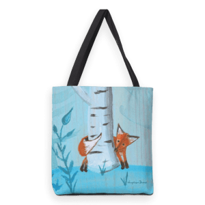 Fox; heavy duty tote bag with mixed media illustration print.