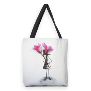 Pretty Pink; heavy duty tote bag with mixed media illustration print.