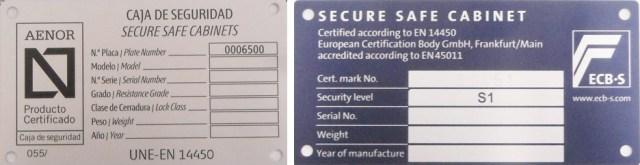 placa certificado seguridad caja fuerte