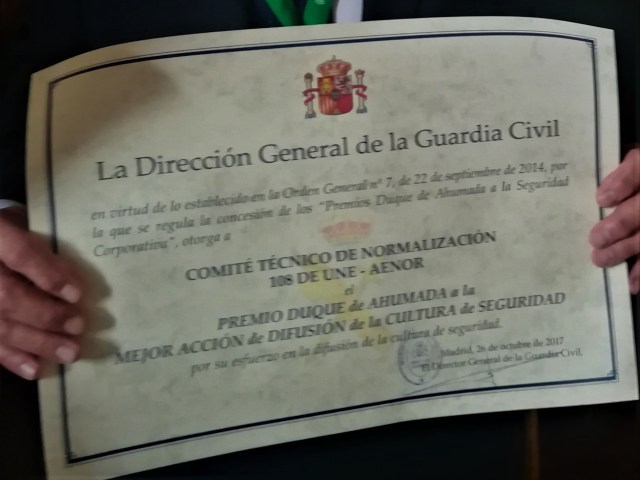 Premio Duque de Ahumada 2017. Comité UNE 108