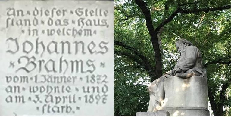 Johannes Brahms - Gedenktafel und Denkmal am Karlsplatz