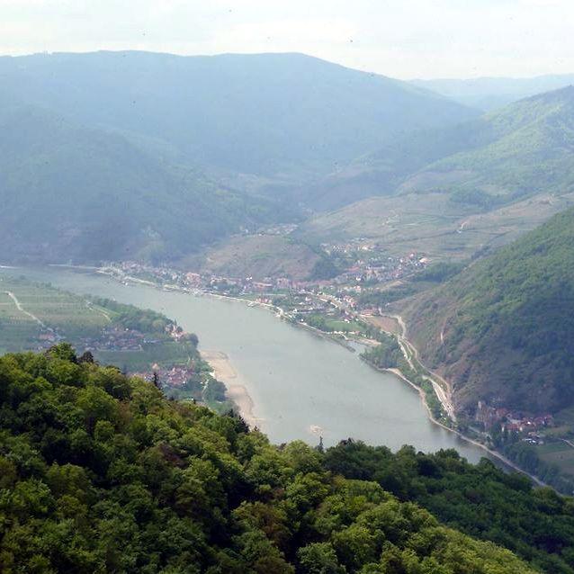 Blick vom Welterbesteig auf Spitz an der Donau