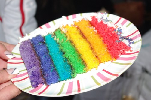 7 layer rainbow cake slice