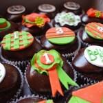 horse racing themed cupcakes, chocolate cupcakes, bar one ganache, custom made sugar paste decorations