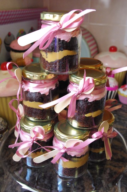 cupcake-in-a-jar, chocolate, caramel, strawberry butter icing