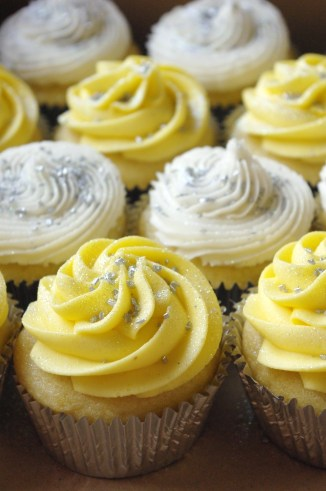 vanilla cupcakes, vanilla butter icing, silver glitter and sprinkles